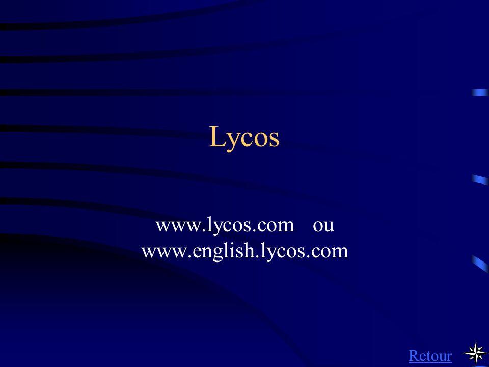 Lycos www.lycos.com ou www.english.lycos.com Retour