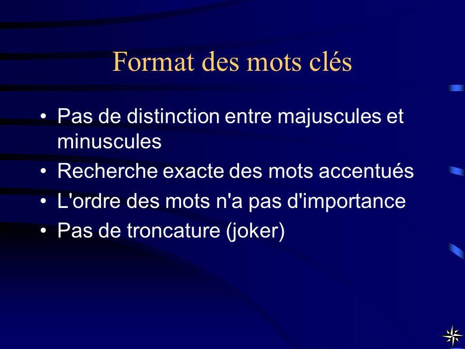 Format des mots clés Pas de distinction entre majuscules et minuscules Recherche exacte des mots accentués L'ordre des mots n'a pas d'importance Pas d