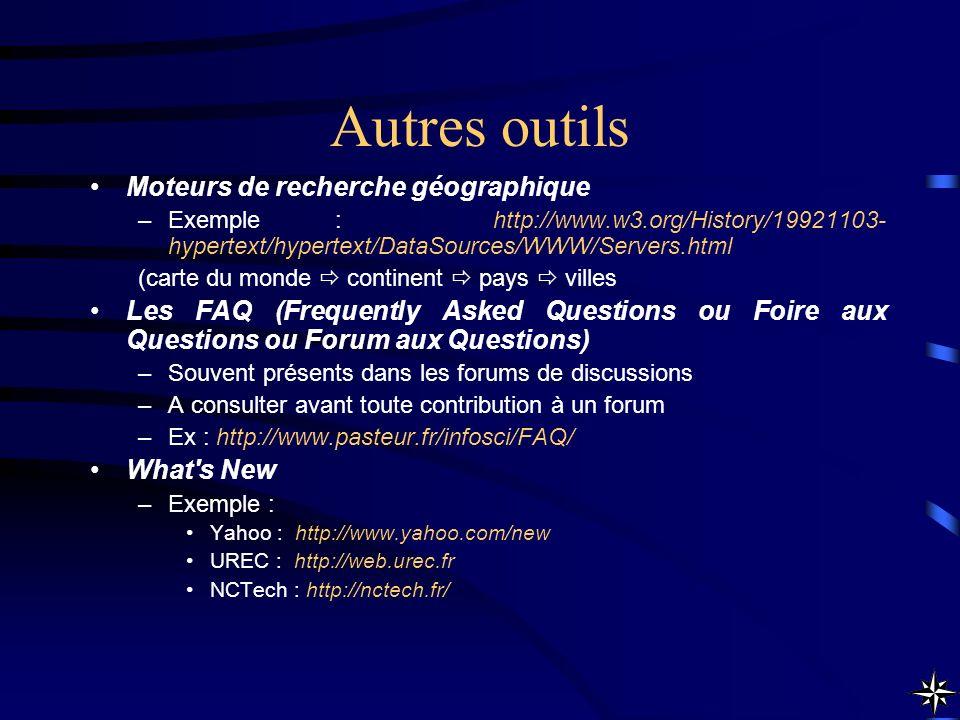 Moteurs de recherche géographique –Exemple : http://www.w3.org/History/19921103- hypertext/hypertext/DataSources/WWW/Servers.html (carte du monde cont