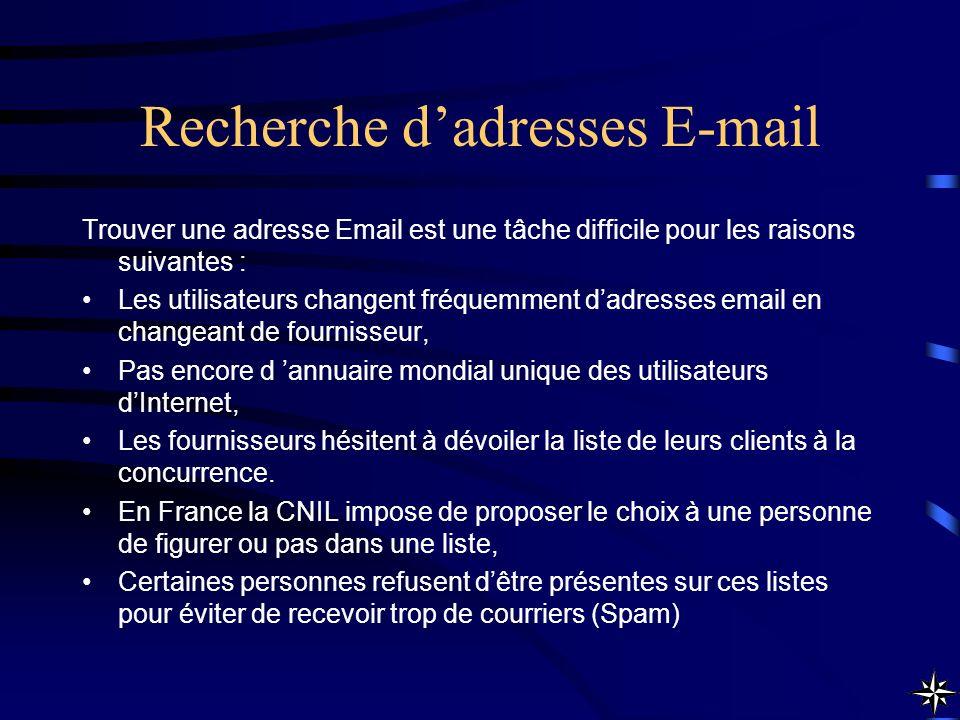 Recherche dadresses E-mail Trouver une adresse Email est une tâche difficile pour les raisons suivantes : Les utilisateurs changent fréquemment dadres
