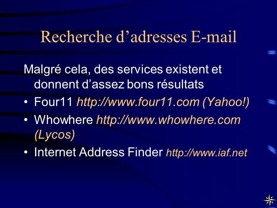 Recherche dadresses E-mail Malgré cela, des services existent et donnent dassez bons résultats Four11 http://www.four11.com (Yahoo!) Whowhere http://w