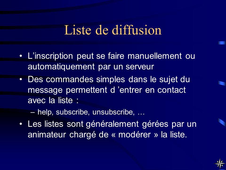Liste de diffusion Linscription peut se faire manuellement ou automatiquement par un serveur Des commandes simples dans le sujet du message permettent
