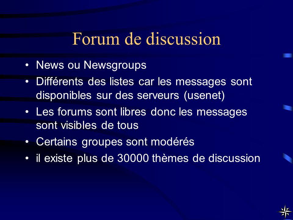 Forum de discussion News ou Newsgroups Différents des listes car les messages sont disponibles sur des serveurs (usenet) Les forums sont libres donc l