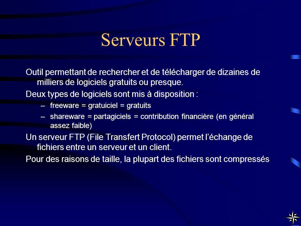 Serveurs FTP Outil permettant de rechercher et de télécharger de dizaines de milliers de logiciels gratuits ou presque. Deux types de logiciels sont m