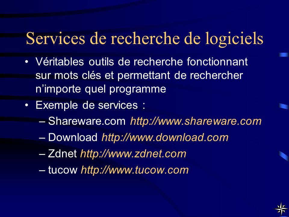 Services de recherche de logiciels Véritables outils de recherche fonctionnant sur mots clés et permettant de rechercher nimporte quel programme Exemp