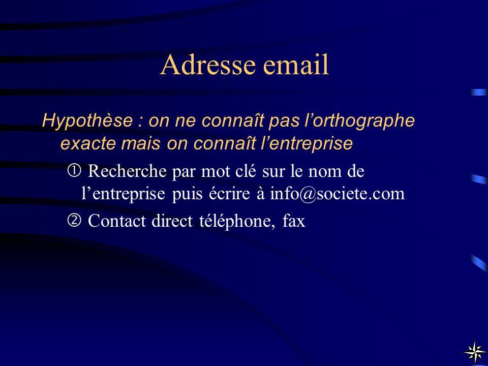 Adresse email Hypothèse : on ne connaît pas lorthographe exacte mais on connaît lentreprise Recherche par mot clé sur le nom de lentreprise puis écrir