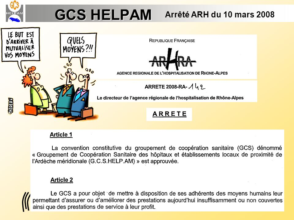 GCS HELPAM Arrêté ARH du 10 mars 2008