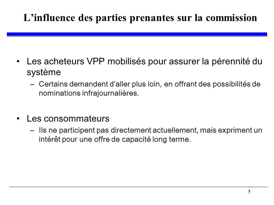5 Linfluence des parties prenantes sur la commission Les acheteurs VPP mobilisés pour assurer la pérennité du système –Certains demandent daller plus loin, en offrant des possibilités de nominations infrajournalières.