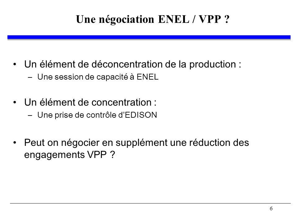 6 Une négociation ENEL / VPP .