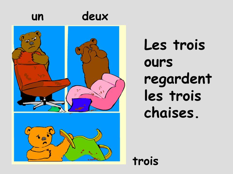 Les trois ours regardent les trois chaises. undeux trois