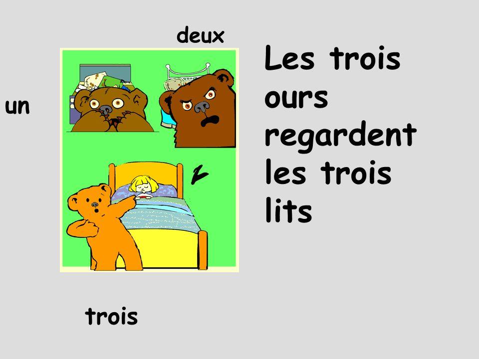Les trois ours regardent les trois lits un deux trois