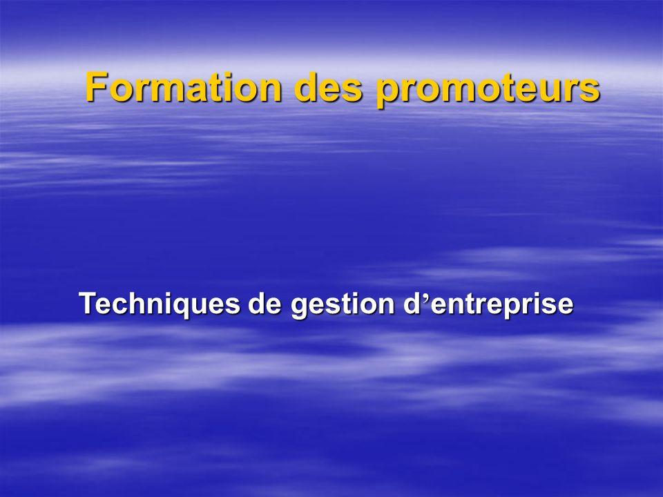 Formation des promoteurs Techniques de gestion dentreprise