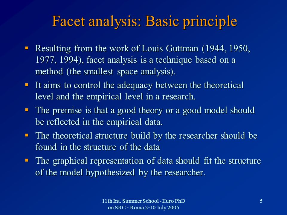 11th Int. Summer School - Euro PhD on SRC - Roma 2-10 July 2005 5 Facet analysis: Basic principle Resulting from the work of Louis Guttman (1944, 1950