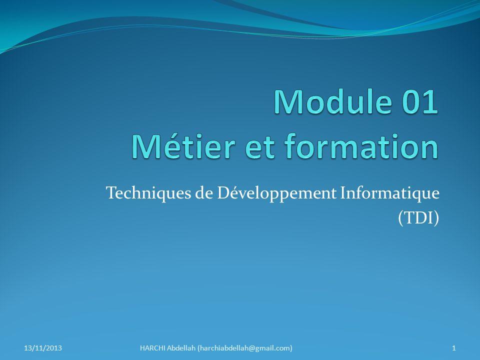 Techniques de Développement Informatique (TDI) 13/11/2013HARCHI Abdellah (harchiabdellah@gmail.com)1