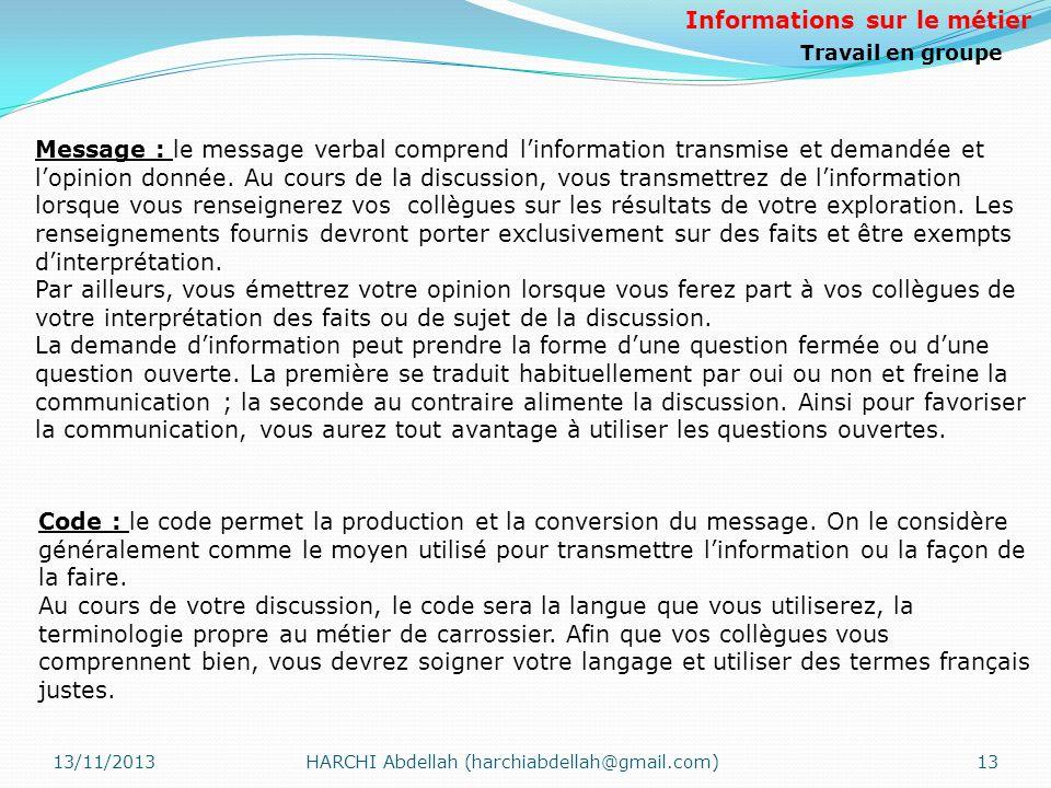 13/11/2013HARCHI Abdellah (harchiabdellah@gmail.com)13 Message : le message verbal comprend linformation transmise et demandée et lopinion donnée. Au