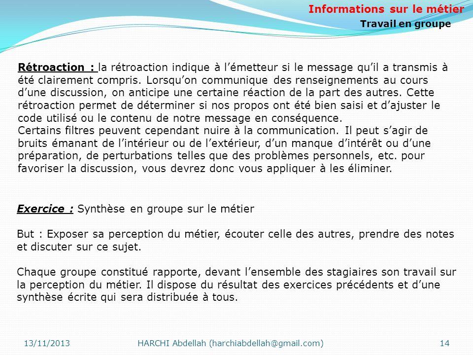 13/11/2013HARCHI Abdellah (harchiabdellah@gmail.com)14 Rétroaction : la rétroaction indique à lémetteur si le message quil a transmis à été clairement