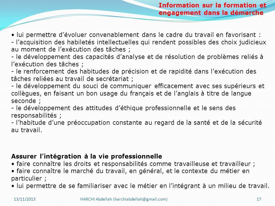 13/11/2013HARCHI Abdellah (harchiabdellah@gmail.com)17 lui permettre dévoluer convenablement dans le cadre du travail en favorisant : - lacquisition d