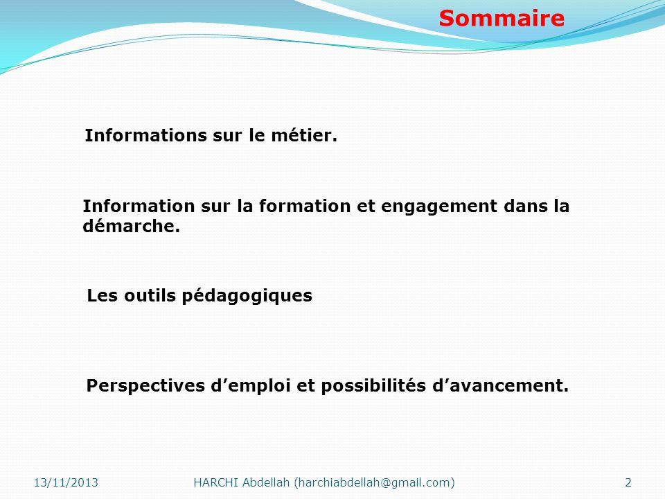 Sommaire Informations sur le métier. Information sur la formation et engagement dans la démarche. Les outils pédagogiques Perspectives demploi et poss