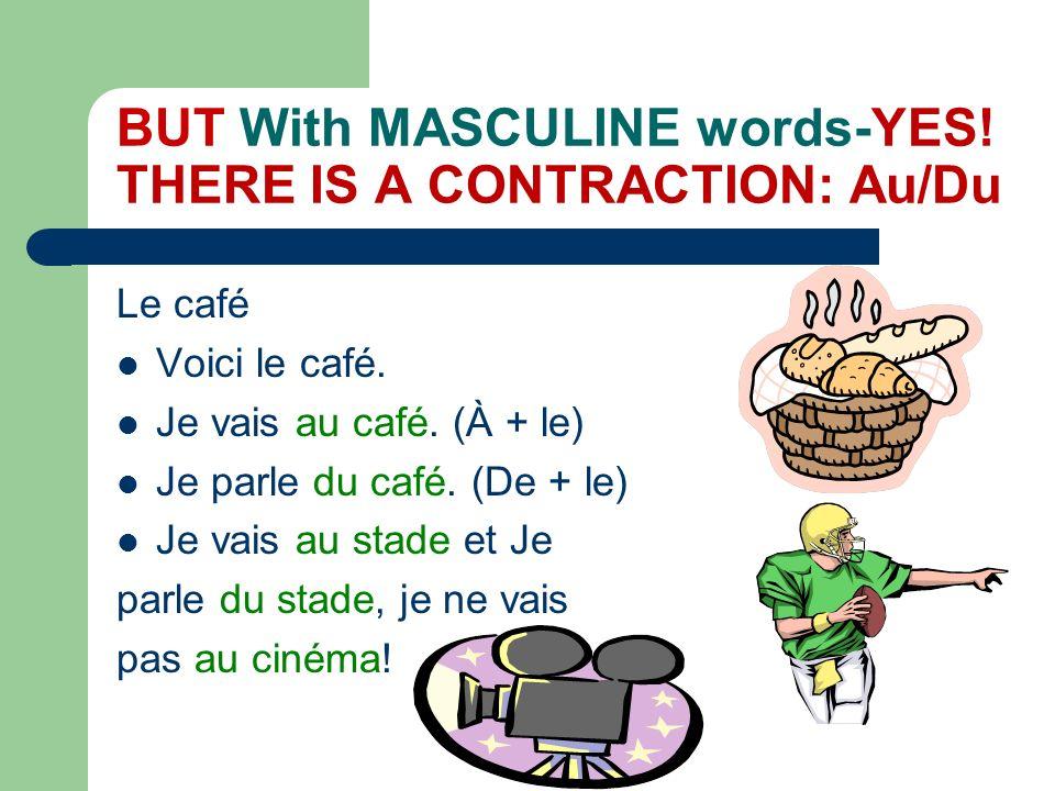 What about L?(with Vowels) NO contraction is used! Lhôpital Voici lhôpital. Je vais à lhôpital. Je parle de lhôpital.