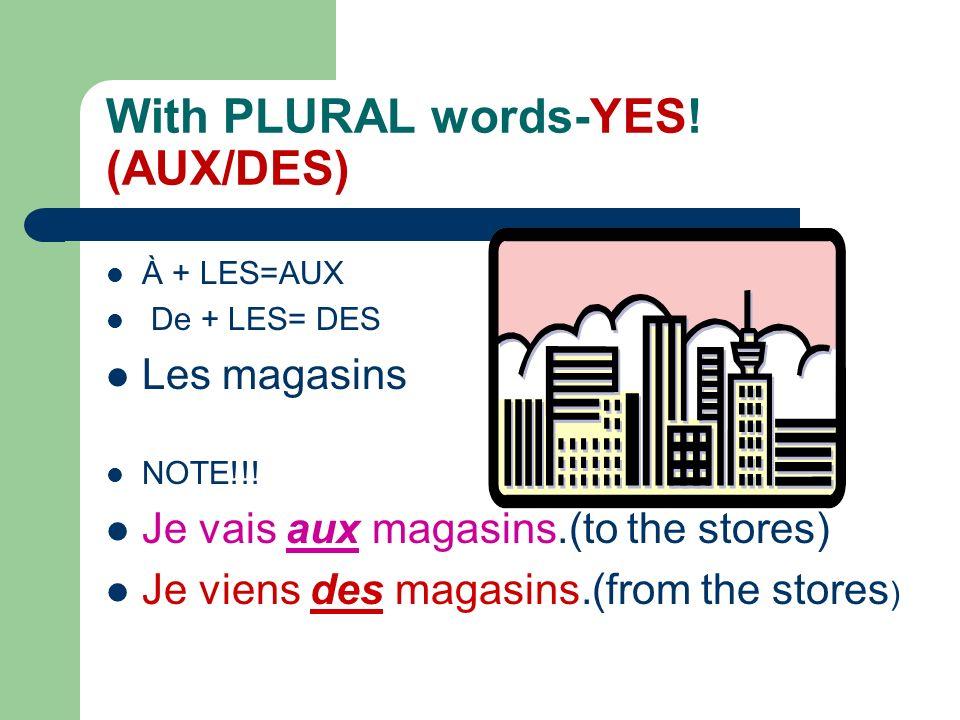 BUT With MASCULINE words-YES! THERE IS A CONTRACTION: Au/Du Le café Voici le café. Je vais au café. (À + le) Je parle du café. (De + le) Je vais au st