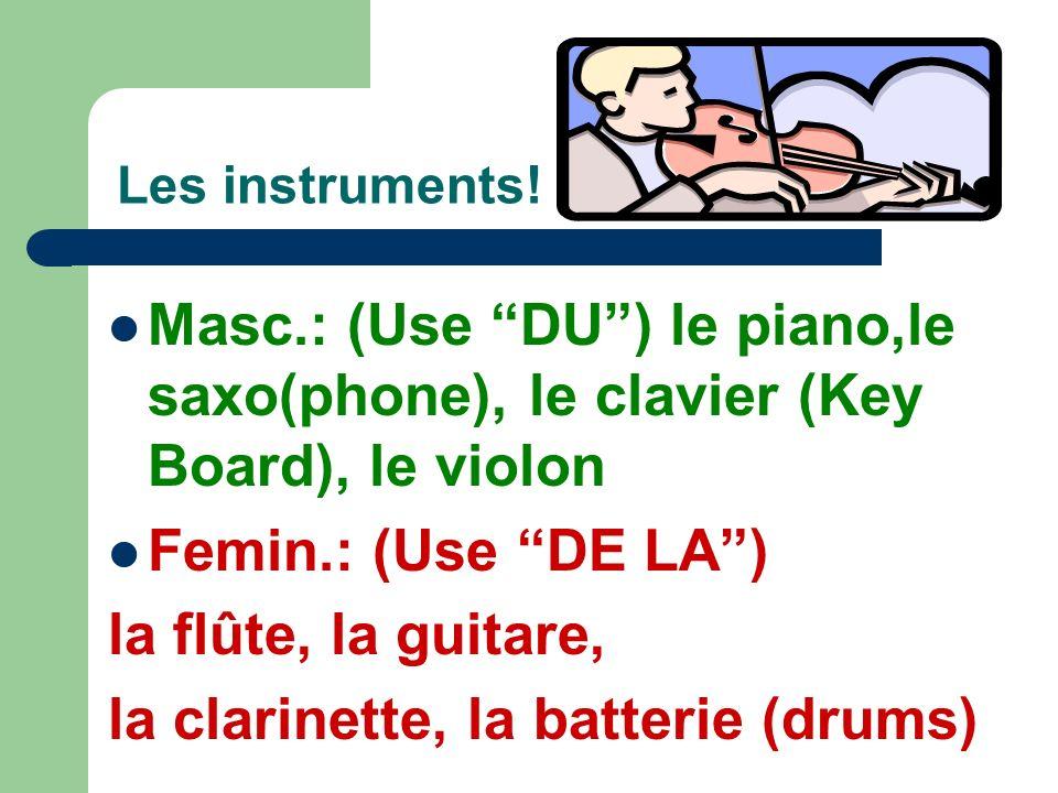 To PLAY or NOT TO PLAY? JOUER + À + Le/La/Les for sports/games: (make contractions!) Ex. 1. Je joue au football.(A + le) 2. Elle joue aux cartes.(A +