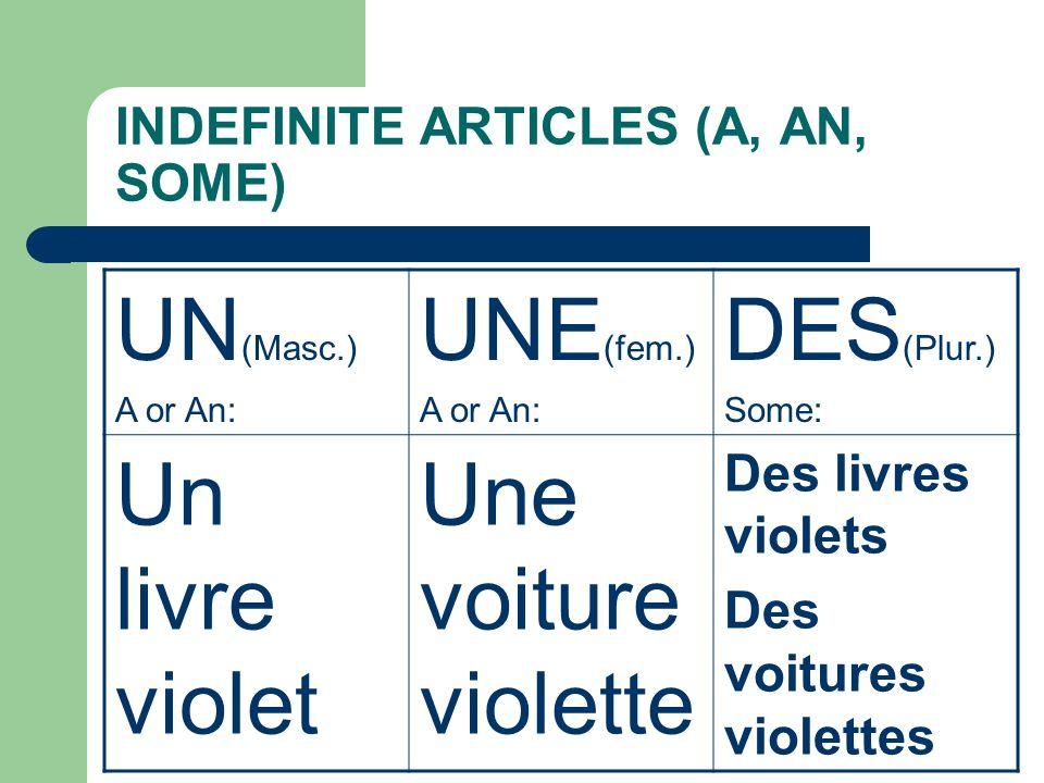 INDEFINITE ARTICLES (A, AN, SOME) UN (Masc.) A or An: UNE (fem.) A or An: DES (Plur.) Some: Un livre violet Une voiture violette Des livres violets Des voitures violettes