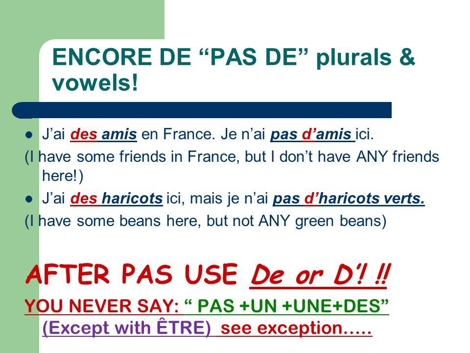 What if the sentence is negative? PAS DE! In a negative sentence, the Un, Une become De (d) after PAS! Examples: 1. Jai un ordinateur mais ma soeur na