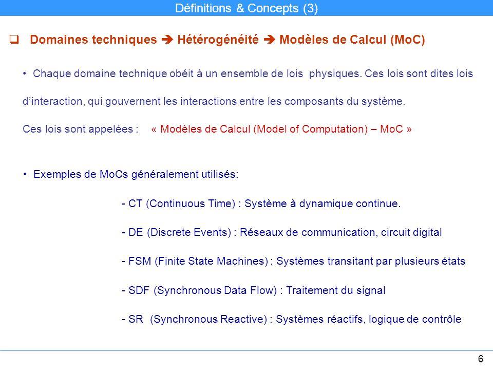 Définitions & Concepts (3) Domaines techniques Hétérogénéité Modèles de Calcul (MoC) Chaque domaine technique obéit à un ensemble de lois physiques. C