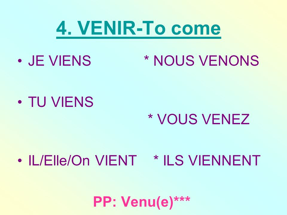 venir… pour dire où on (ne [n]) vient (pas) (!) –(to say where one is/isnt coming from) Tu viens à ma boum samedi soir.