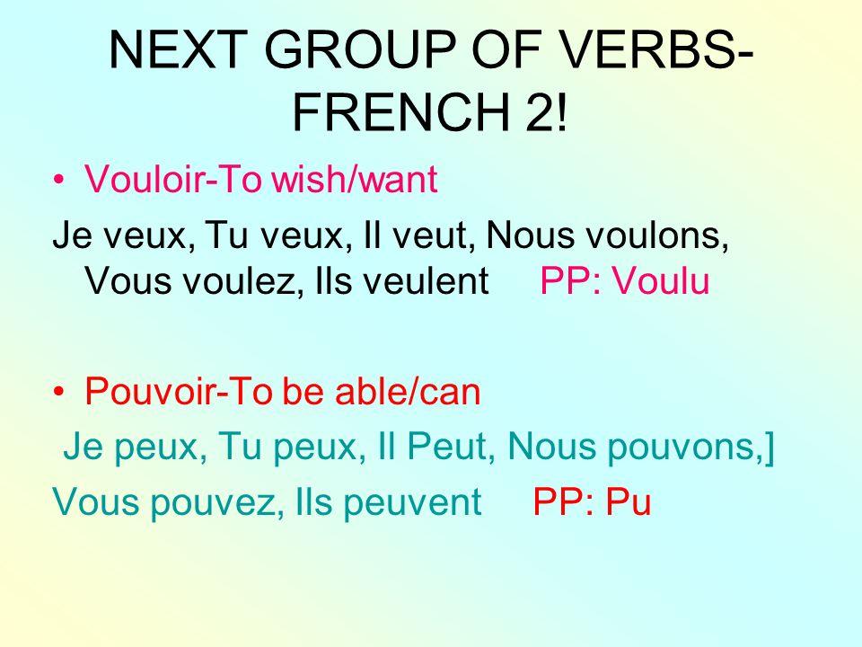 More Irregular verbs from F 2.