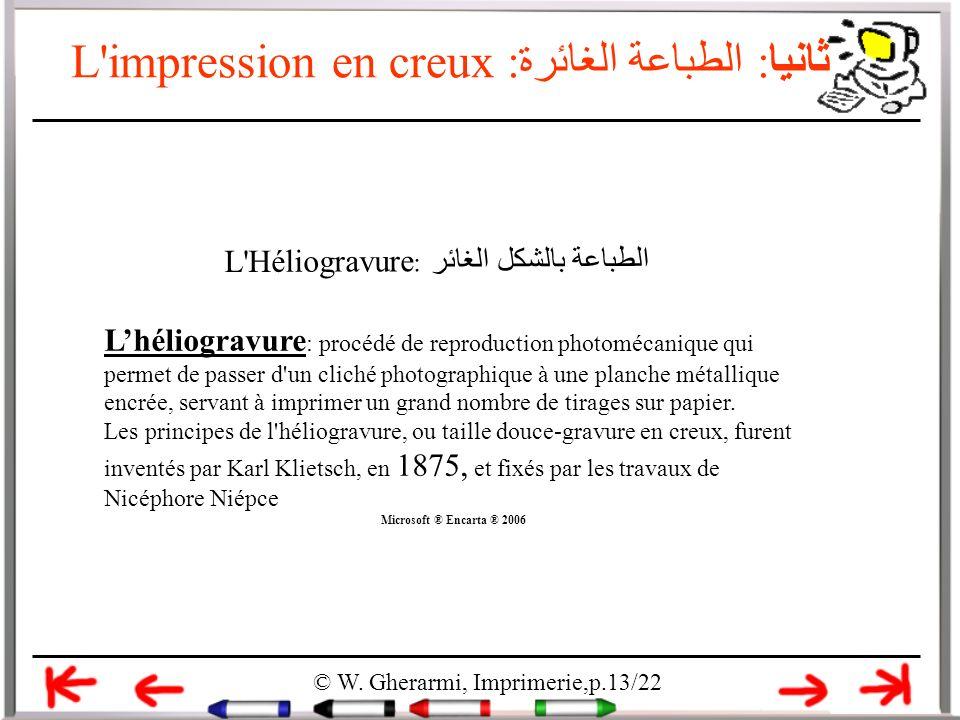 L'impression en creux ثانيا: الطباعة الغائرة: © W. Gherarmi, Imprimerie,p.13/22 L'Héliogravure : الطباعة بالشكل الغائر Lhéliogravure : procédé de repr