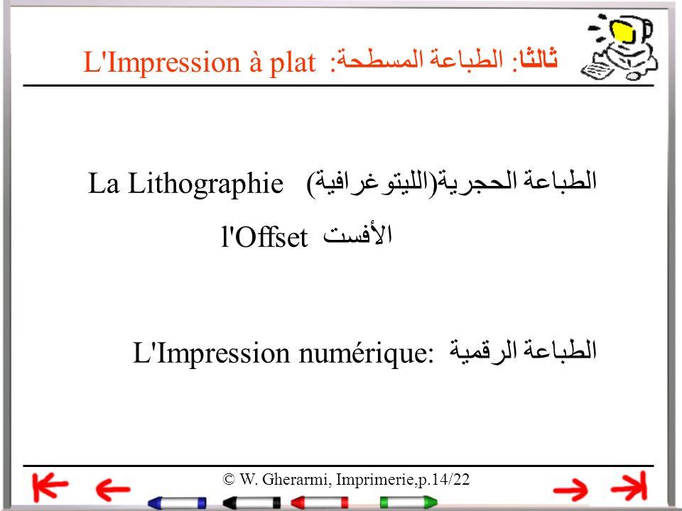 L'Impression à plat ثالثا: الطباعة المسطحة: الطباعة الحجرية(الليتوغرافية) La Lithographie الأفستl'Offset الطباعة الرقمية L'Impression numérique: © W.