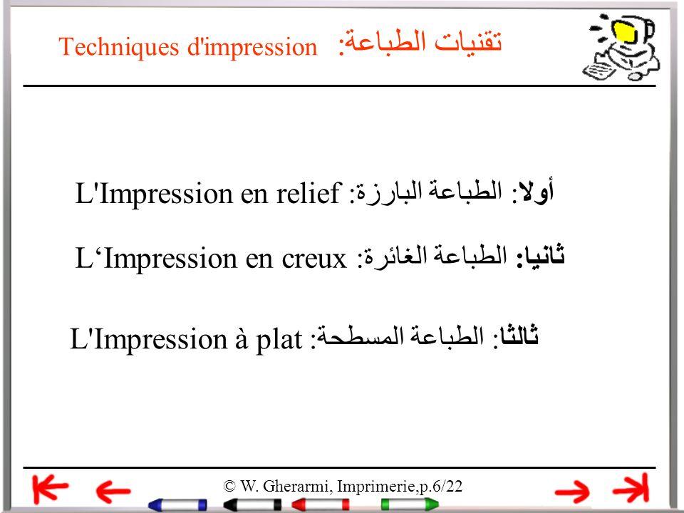 Techniques d'impression تقنيات الطباعة: © W. Gherarmi, Imprimerie,p.6/22 أولا: الطباعة البارزة:L'Impression en relief ثالثا: الطباعة المسطحة:L'Impress