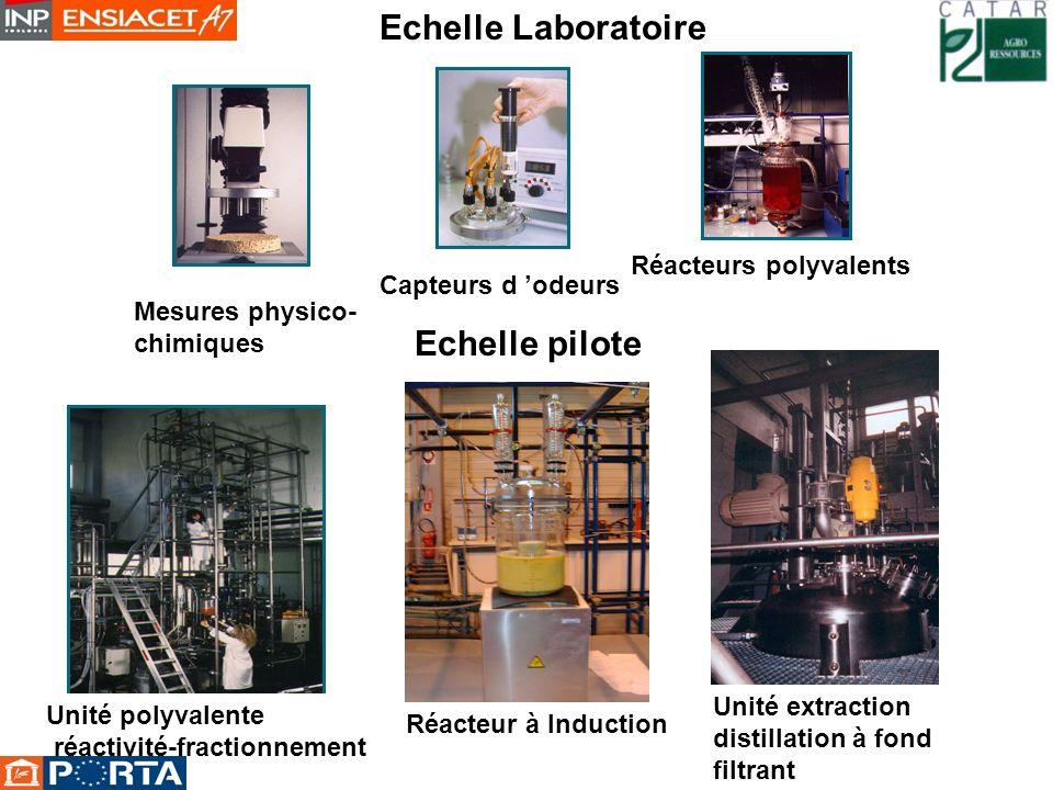 Echelle Laboratoire Echelle pilote Unité polyvalente réactivité-fractionnement Réacteur à Induction Unité extraction distillation à fond filtrant Capt