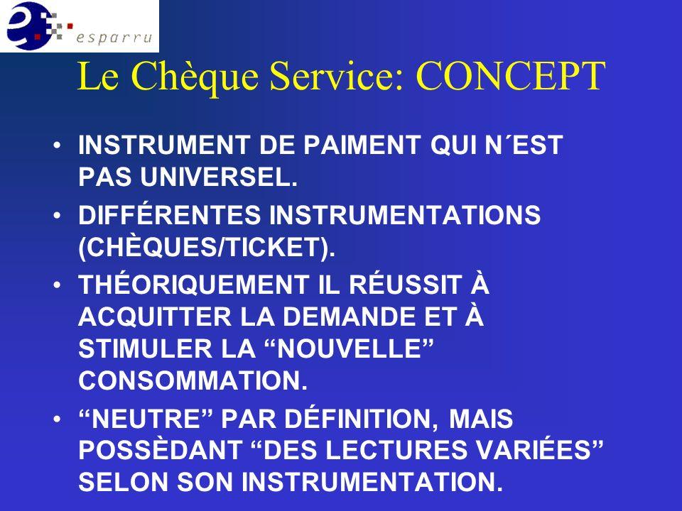 Le Chèque Service: CONCEPT INSTRUMENT DE PAIMENT QUI N´EST PAS UNIVERSEL.