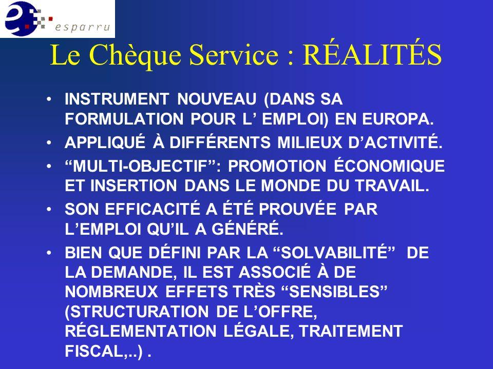 Le Chèque Service : RÉALITÉS INSTRUMENT NOUVEAU (DANS SA FORMULATION POUR L EMPLOI) EN EUROPA.