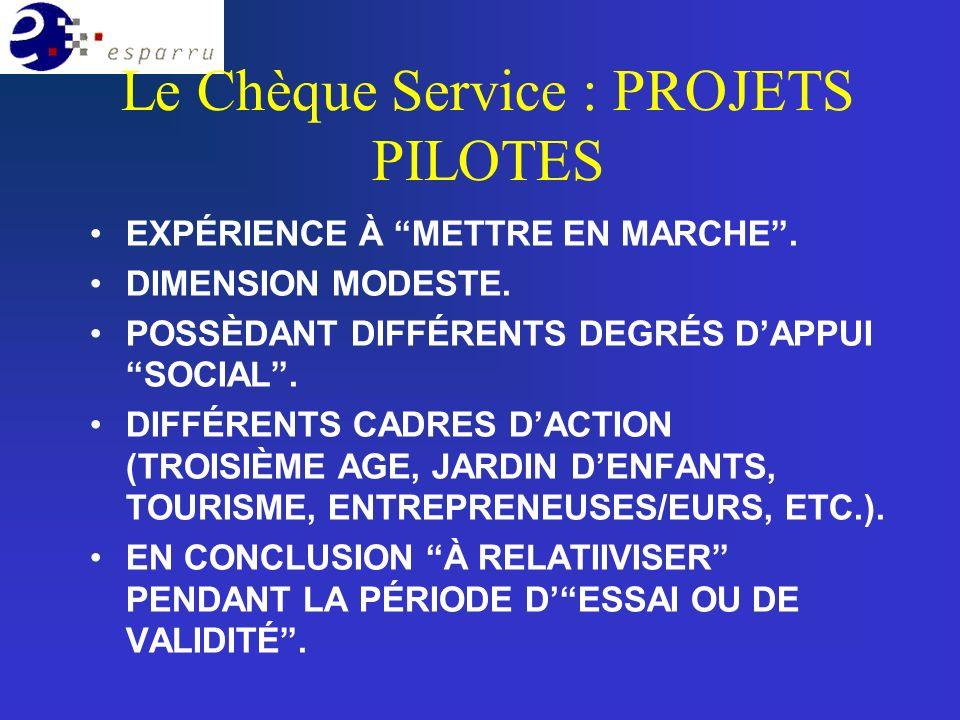 Le Chèque Service : PROJETS PILOTES EXPÉRIENCE À METTRE EN MARCHE.