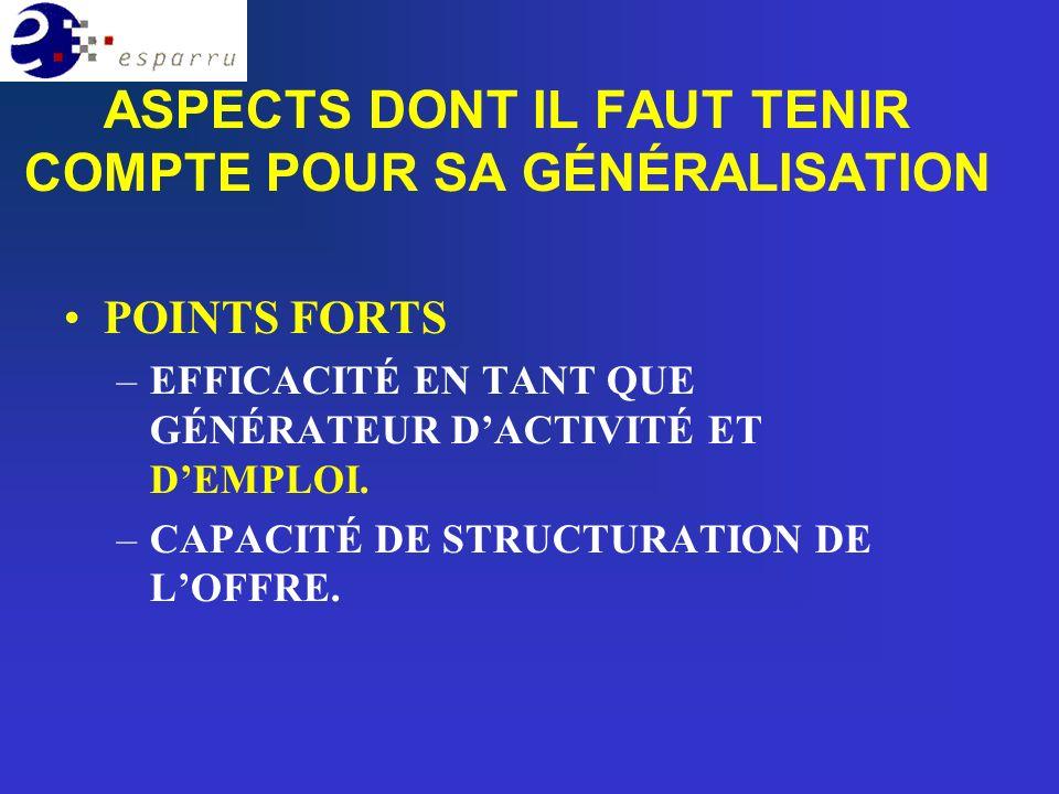 POINTS FORTS –EFFICACITÉ EN TANT QUE GÉNÉRATEUR DACTIVITÉ ET DEMPLOI.