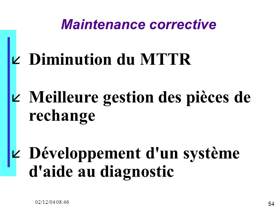 54 02/12/04 08:46 Maintenance corrective Diminution du MTTR Meilleure gestion des pièces de rechange Développement d un système d aide au diagnostic