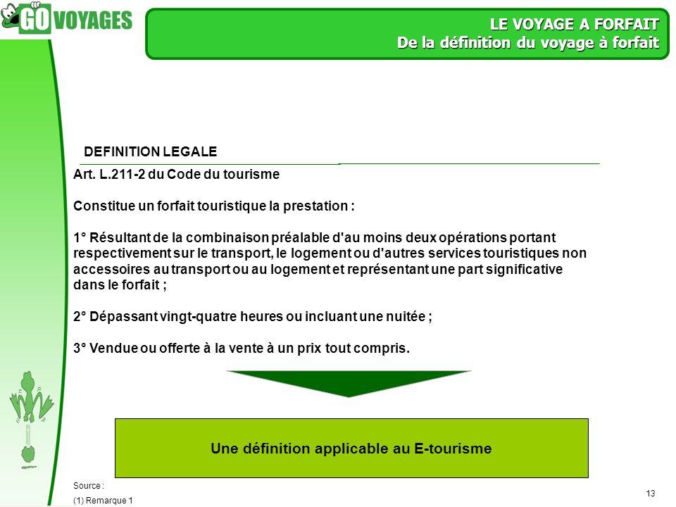 13 LE VOYAGE A FORFAIT De la définition du voyage à forfait Source : (1) Remarque 1 DEFINITION LEGALE Art. L.211-2 du Code du tourisme Constitue un fo