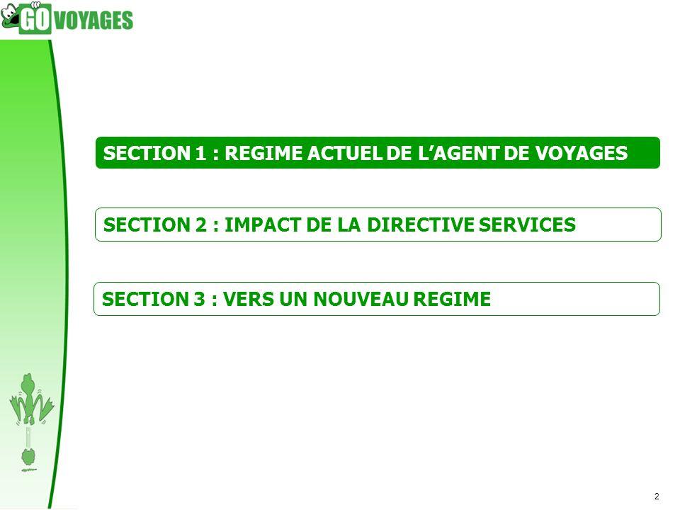 2 SECTION 1 : REGIME ACTUEL DE LAGENT DE VOYAGES SECTION 2 : IMPACT DE LA DIRECTIVE SERVICES SECTION 3 : VERS UN NOUVEAU REGIME