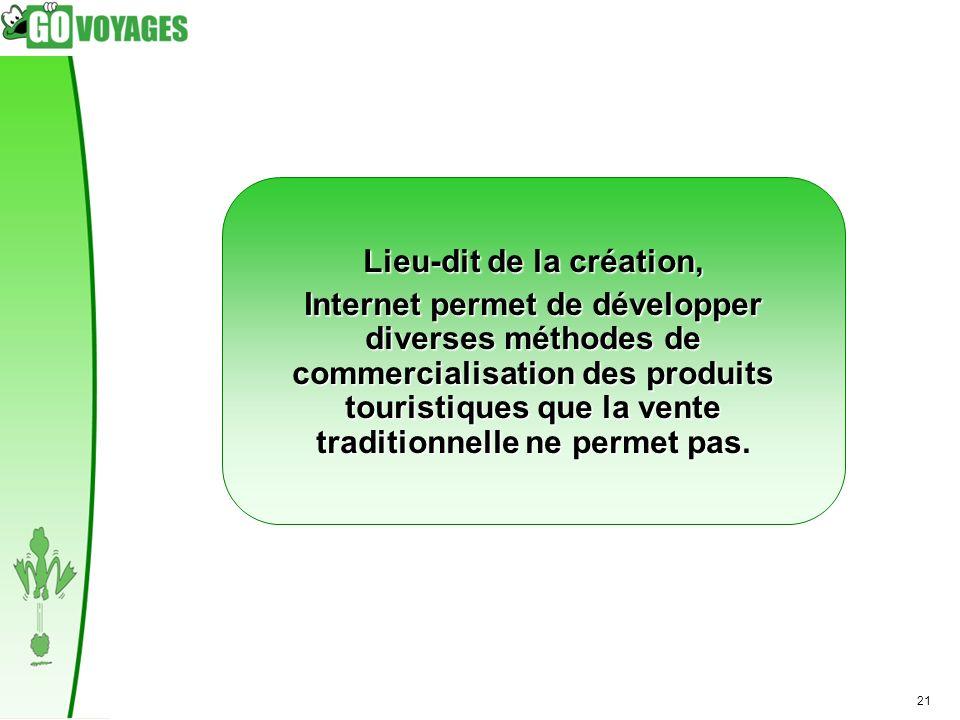 21 Lieu-dit de la création, Internet permet de développer diverses méthodes de commercialisation des produits touristiques que la vente traditionnelle