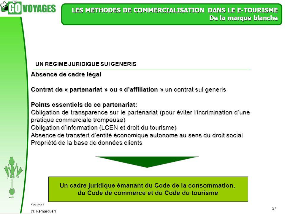 27 LES METHODES DE COMMERCIALISATION DANS LE E-TOURISME De la marque blanche Un cadre juridique émanant du Code de la consommation, du Code de commerc