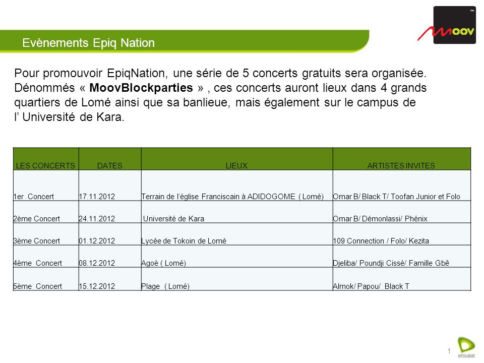 1 Pour promouvoir EpiqNation, une série de 5 concerts gratuits sera organisée.