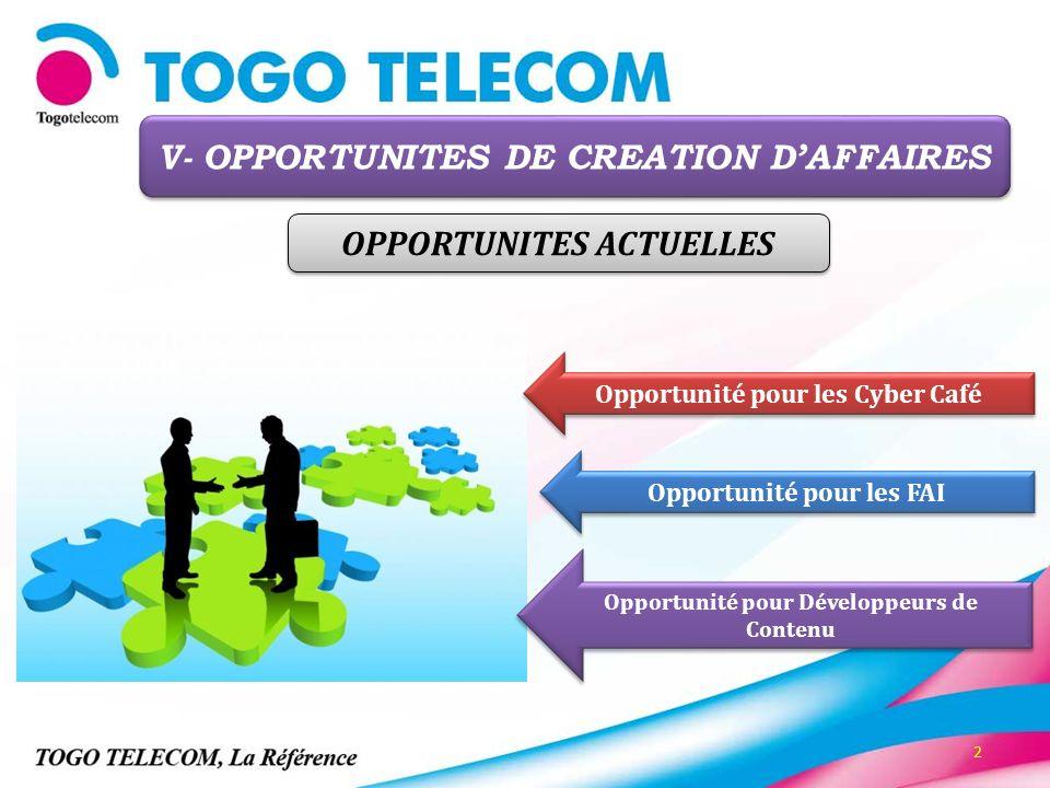 2 Opportunité pour les Cyber Café Opportunité pour les FAI Opportunité pour Développeurs de Contenu V- OPPORTUNITES DE CREATION DAFFAIRES OPPORTUNITES