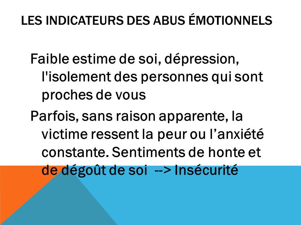 Faible estime de soi, dépression, l'isolement des personnes qui sont proches de vous Parfois, sans raison apparente, la victime ressent la peur ou lan