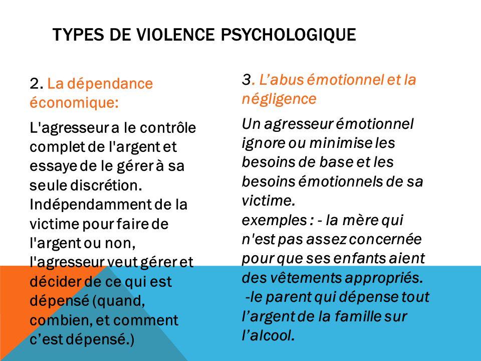 TYPES DE VIOLENCE PSYCHOLOGIQUE 2. La dépendance économique: L'agresseur a le contrôle complet de l'argent et essaye de le gérer à sa seule discrétion
