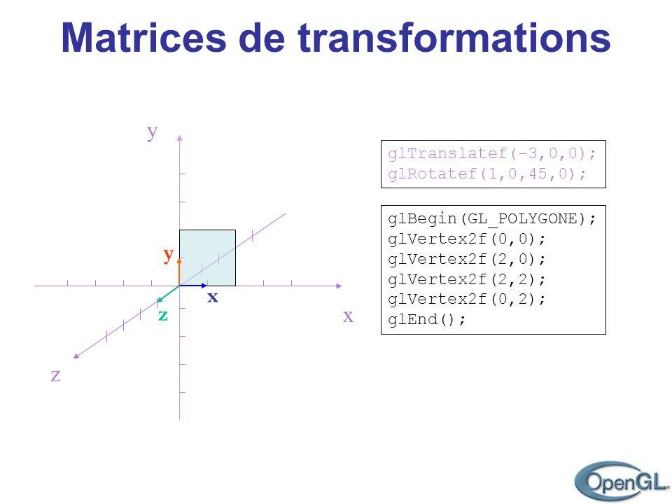 Matrices de transformations POT – chapitre 2, concept 1.2, 1.7, 1.8 et 1.9 Repère relatif à lobjet - transformations dans lordre de leur déclaration Repère du monde - transformations dans lordre inverse de leur déclaration