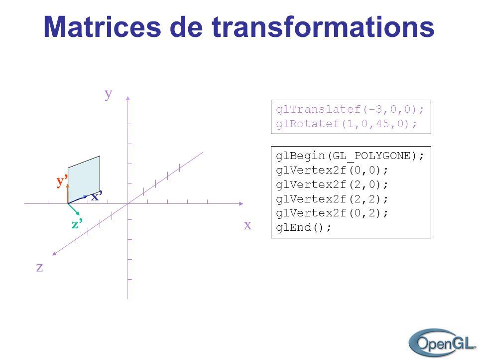 Matrices de transformations z y x glBegin(GL_POLYGONE); glVertex2f(0,0); glVertex2f(2,0); glVertex2f(2,2); glVertex2f(0,2); glEnd(); glTranslatef(-3,0