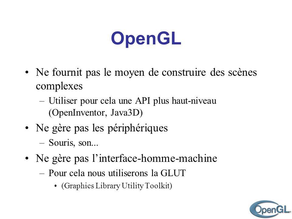 OpenGL Ne fournit pas le moyen de construire des scènes complexes –Utiliser pour cela une API plus haut-niveau (OpenInventor, Java3D) Ne gère pas les